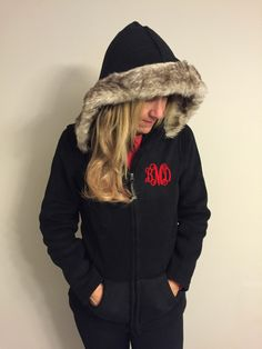 Baby it's cold outside! Black hoodie with faux fur trim... $34.00 EmbroiderybyAndra on Etsy.com