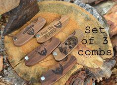 Set of 3 Folding Combs Wooden Custom Engraved Personalized Pocket Comb Men Grooming Kit Beard Hair Mustache Gift for Boyfriend Groomsmen