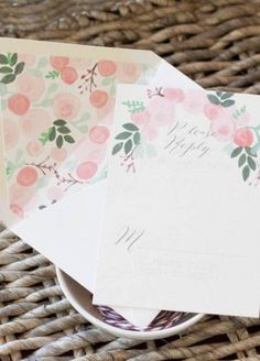 Oh So Beautiful Paper: Emma + Finn's Floral New York City Wedding Invitations