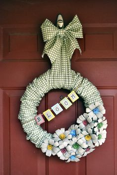 paper pulp egg carton flower wreath