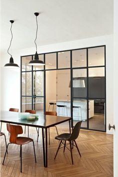 45 Amazing Glass Partition for Your Living Room Küchen Design, Design Case, House Design, Interior Windows, Room Interior, Interior Design, Interior Decorating, Decorating Ideas, Decor Ideas