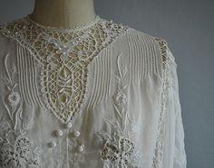 Vintage Edwardian Dress / 1900s Antique Embroidered by zestvintage