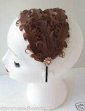 Brown Feather Headpiece Vintage 1920s Flapper Gold Headband Tan Great Gatsby L27 Vintage Headpiece, Feather Headpiece, Vintage Headbands, Metal Headbands, Headbands For Women, Fascinator, Vintage Glamour, Vintage Ladies