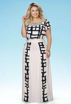 Faciniu's Moda Evangélica Verão 2016 Modest Dresses, Plus Size Dresses, Plus Size Outfits, White Fashion, Girl Fashion, Fashion Outfits, Plus Size Girls, Plus Size Women, Plus Size Summer Outfit