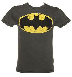 Men's Dark Grey Washed Batman Logo T-Shirt
