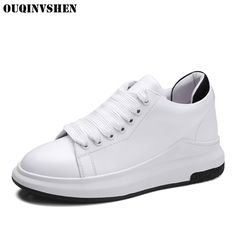 48.50$  Watch here - http://ali0zj.shopchina.info/go.php?t=32807551679 - OUQINVSHEN Flat Platform Loafers Genuine Leather Women Flats 2017 New Woman Summer Fashion Ladies Lace-Up Casual White Shoes  #aliexpresschina