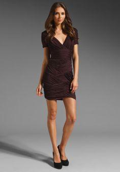 25848963545c1 HALSTON-HERITAGE-Aubergine-Short-Sleeve-Ruched-Dress-Size-