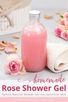 DIY Rose Body Wash Without Castile Soap - Natural Homemade Shower Gel Recipe for Sensitive Dry Skin Diy Body Wash, Homemade Body Wash, Natural Body Wash, Lip Scrub Homemade, Homemade Soap Recipes, Castile Soap Recipes, Homemade Shower Gel, Anti Pickel Creme, Natural Showers
