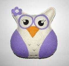 Wool Felt Owl Ornament Felt Owl Big Owl Plush Felt Animal