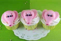 Pink Elephant Fondant Heads Topping Cupcakes