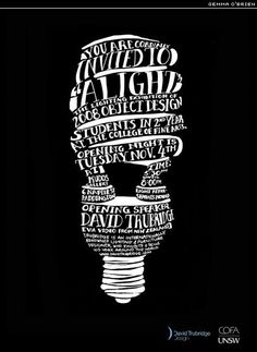 hand drawn type, The Type fits the complex design of the swirly light bulb very well. the type itself is also very fun