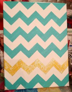 Teal chevron with glitter canvas