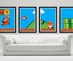 Relive Mario's illustrious accomplishments on a daily basis by decorating your home with a Super Mario print. Ideal for adding a splash of geeky flavor to any home, these custom prints feature a matte finish depicting the heroic Italian plumber's adventures.
