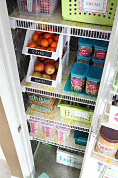 Beautiful Pantry Organization. Love the stackable bins for fruit. This whole site has lots of great and accessible organizing ideas.