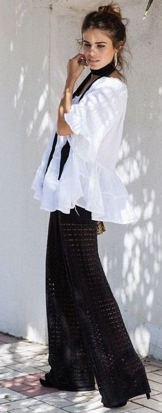 #summer #trending #style |  Boho Chic Black and White