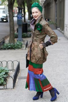 Green turban and an amazing skirt. via Advanced Style    (Advanced Style is the BEST place to find street style photos of badass older ladies. Damn, I can't wait to have grey hair.)