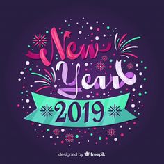 Fondo año nuevo lettering colorido vector gratuito Holiday Images, New Year Images, Holiday Pictures, After Christmas Sales, Christmas And New Year, Christmas Diy, Happy New Year Wishes, Happy New Year 2019, Christmas Animated Gif