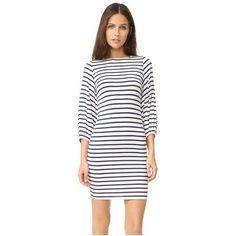 Rachel Pally Medina Dress (€205) ❤ liked on Polyvore featuring dresses, jupiter stripe, rachel pally dress, form fitting white dress, white jersey dress, shirred dress and white striped dress