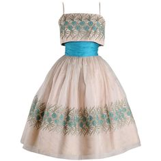 Preowned 1950's Turquoise Embroidered Organza Cocktail Dress ($365) ❤ liked on Polyvore featuring dresses, 1950s, 50s, vestido, multiple, ruching dress, rouched dress, vintage embroidered dress, organza dress y daisy dress