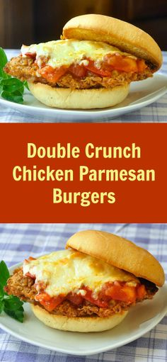 Double Crunch Chicken Parmesan Burgers on Parmesan Herb Buns with Chunky Fresh Tomato Compote - these make such a deliciously satisfying dinner. Use store bought buns if you like but if you have time, follow my recipe for parmesan herb buns which is also included.