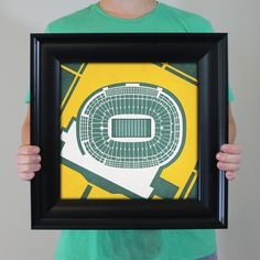 Map art print including the aerial view of Lambeau Field located in Green Bay, Wisconsin.