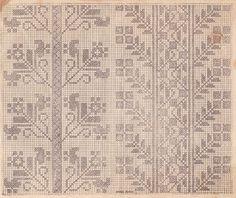 Model 1926 Folk Embroidery, Cross Stitch Embroidery, Embroidery Designs, Vintage Cross Stitches, Cross Stitch Borders, Knitting Charts, Bargello, Friendship Bracelet Patterns, Blackwork