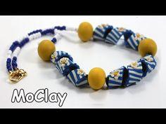 Šperk spirálky, váleček, korále, kompletace   DIY necklace with twisted bead -Polymer clay tutorial - YouTube