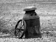 8x10 Black and White Antique Milk Jug and Wagon Wheel Outdoor Photography Fine Art Photo Home Decor on Etsy, $19.99