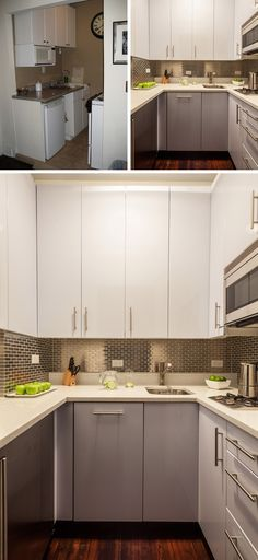 While the size remained the same, a new layout, new cabinetry, a stainless steel backsplash and new appliances gave this small kitchen a big upgrade and a more modern look.
