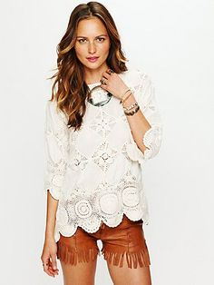 Outfit // Diamond Crochet Tunic with Leather Fringe Shorts at Free People