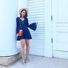 Summer days in denim 👗👒! Dias de verão - com vestido jeans super feminino da @damyller! #MeuJeansDamyller #look #ootd #summer