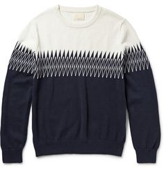 Band of OutsidersIntarsia Knitted Cotton Sweater