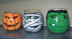 Halloween wine glass/candle holder set of 4. $45.00, via Etsy.