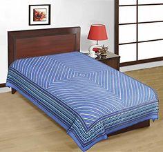 Odishabazaar Sanganeri Printed Cotton Single Bedsheet Bedcover in Blue Odishabazaar http://www.amazon.com/dp/B01CJG9SRS/ref=cm_sw_r_pi_dp_XzS2wb1M0G020