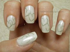 Never Gonna Give You Up: A White Mani For Peace. Would be great for a wedding or Valentine's Day. day nails with initials Love Nails, Pretty Nails, Fun Nails, Heart Nail Art, Heart Nails, Nail Art Designs Videos, Nail Designs, Valentine Nail Art, Valentines