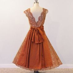 50s Dress / 1950s Cocoa Brown Scalloped Floral by daisyandstella, $325.00