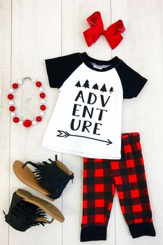 """Red & Black Plaid """"Adventure"""" Capri Set This outfit is adorable and so on point with trends! Great quality and going fast! Perfect for Spring and Summer when hiking or camping!"""