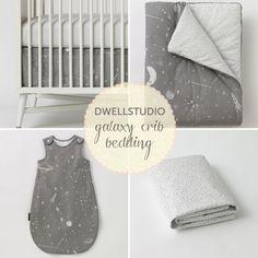 DwellStudio's modern Galaxy crib bedding in neutral grey and white.