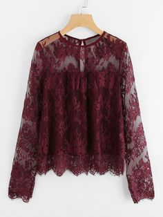 SHEIN offers Scallop Trim Floral Eyelash Lace Top & more to fit your fashionable needs. Zara Tops, Plain Tops, Spring Shirts, Mode Hijab, Blouse Designs, Blouses For Women, Designer Dresses, Lace Dress, Fashion Dresses