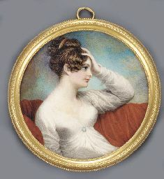 ADAM BUCK (1759-1833) A young lady, in profile to the right seated on a red covered sofa, with her left hand raised to her forehead, in white dress with gold-set cameo brooch at corsage, gold comb in her upswept and curling dark hair