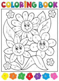 Coloring book with flower theme 9 - eps10 vector illustration. English Worksheets For Kids, Kids Math Worksheets, Toddler Activities, Preschool Activities, Color Activities, Coloring Pages To Print, Coloring For Kids, Coloring Books, Preschool Colors