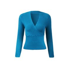 Yoins Threaded V Neck Bottoming Blouse in Wathet featuring polyvore, women's fashion, clothing, tops, blouses, blue blouse, blue long sleeve top, deep v neck top, blue top and long sleeve v neck top
