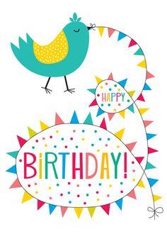 Bunting Bird birthday card