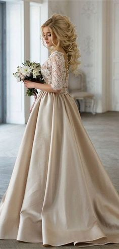 Elegant champagne wedding dresses with lace half sleeves, new arrival bridal gowns