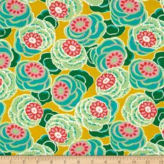 Amy Butler Dream Weaver Clouded Floral Ochre from @fabricdotcom  Designed by Amy Butler for Free Spirit, this Moroccan inspired collection combines floral and abstract patterns with vibrant girly colors. This cotton print is perfect for quilting, apparel and home decor accents. Colors include mustard yellow, teal, green, pink, cream and red-orange.