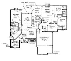 1 Story House Plan With Family Room Formal Living Room And Game