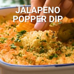 Jalapeno Popper Dip is a quick and easy appetizer recipe! Dip your chips, crackers or vegetables into this gooey, cheese dip loaded with jalapenos. Quick And Easy Appetizers, Easy Appetizer Recipes, Jalapeno Popper Dip, Party Dip Recipes, Chip Dip Recipes, Dinner Recipes, Chicken Pasta Recipes, Recipe Chicken, Jalapeno Poppers