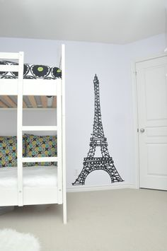 Girls Room Eiffel Tower Wall Decal by Homeworks Etc. A stunning simple design to add sophistication to a littler girls room. Add a chandelier for that added touch of ooh la la!
