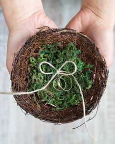 Wedding Ring Bearer Bird Nest Box With Green by MyHouseOfDreams