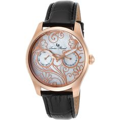 Lucien Piccard Lovemaze Black Genuine Leather White Mop Dial Rose-Tone... (66 CAD) ❤ liked on Polyvore featuring jewelry, watches, black, floral crown, white watches, rose crown, lucien piccard watches and buckle watches